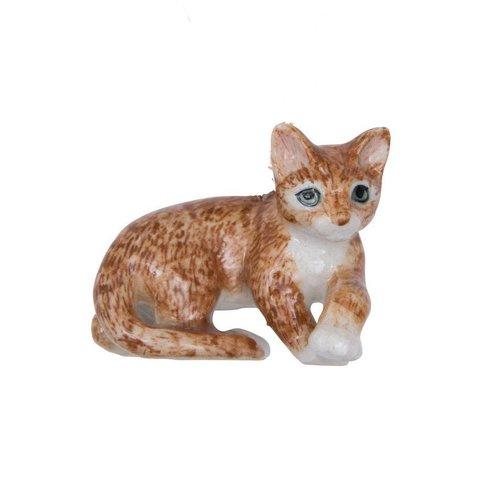 And Mary Mentir gato de jengibre pintado a mano de porcelana