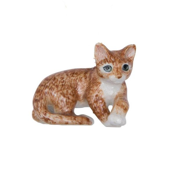 Lying ginger cat hand painted porcelain