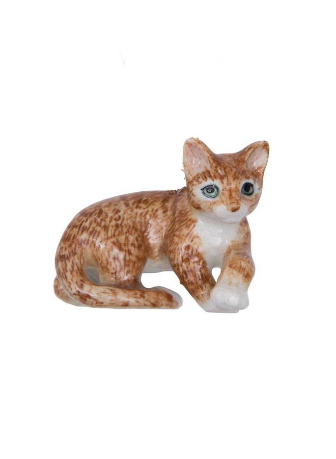 Liegende Ingwer Katze handbemaltes Porzellan