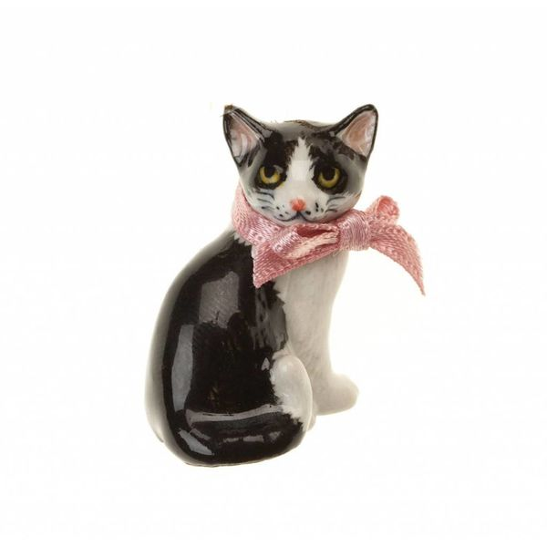 Black and white cat hand painted porcelain