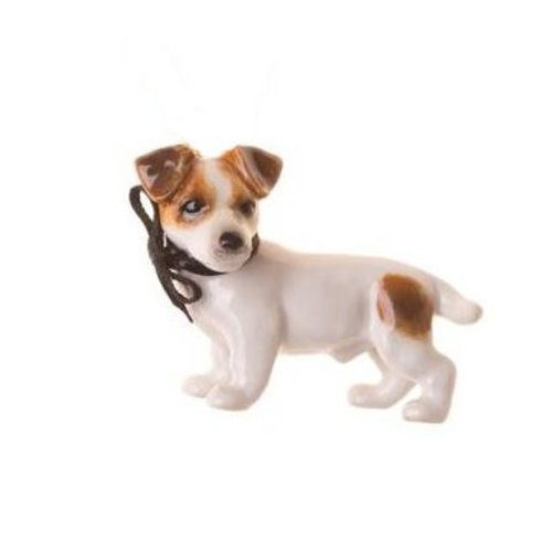 And Mary Jack Russel Dog charm hand painted porcelain