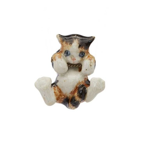 And Mary Tortoise kitten hanging charm hand painted porcelain