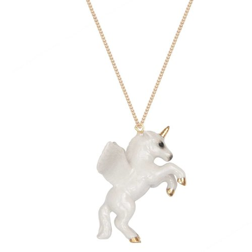 And Mary Unicorn gold leaf necklace hand painted porcelain