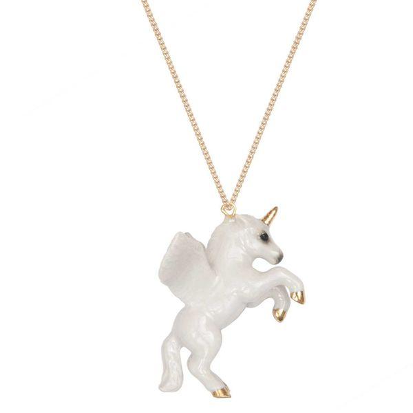 Collar de hoja de oro unicornio pintado a mano de porcelana