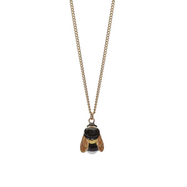 Tiny Bee charm necklace, gold plated chain