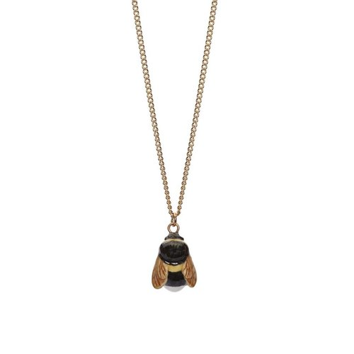 And Mary Tiny Bee charm necklace, brass chain