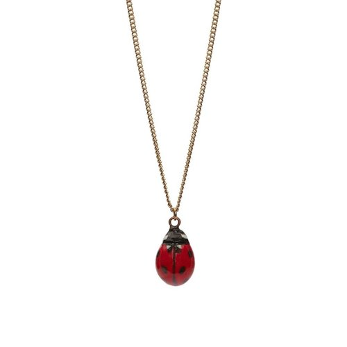 And Mary Lady Bird charm necklace, silver plate chain