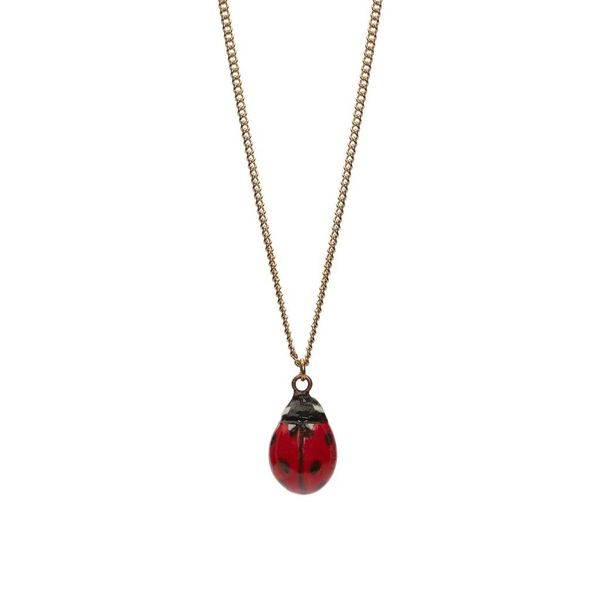 Lady Bird charm necklace, silver plate chain