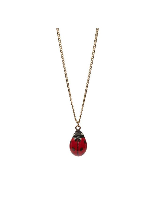Lady Bird Charm Halskette, silberne Plattenkette