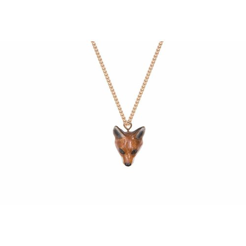 And Mary Fox head charm necklace, gold plate chain