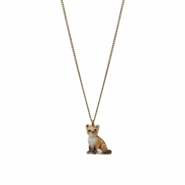 Sitting fox charm necklace, gold plate chain