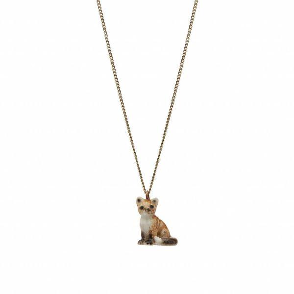 Sitzende Fuchs Charm Halskette, Gold Plate Kette