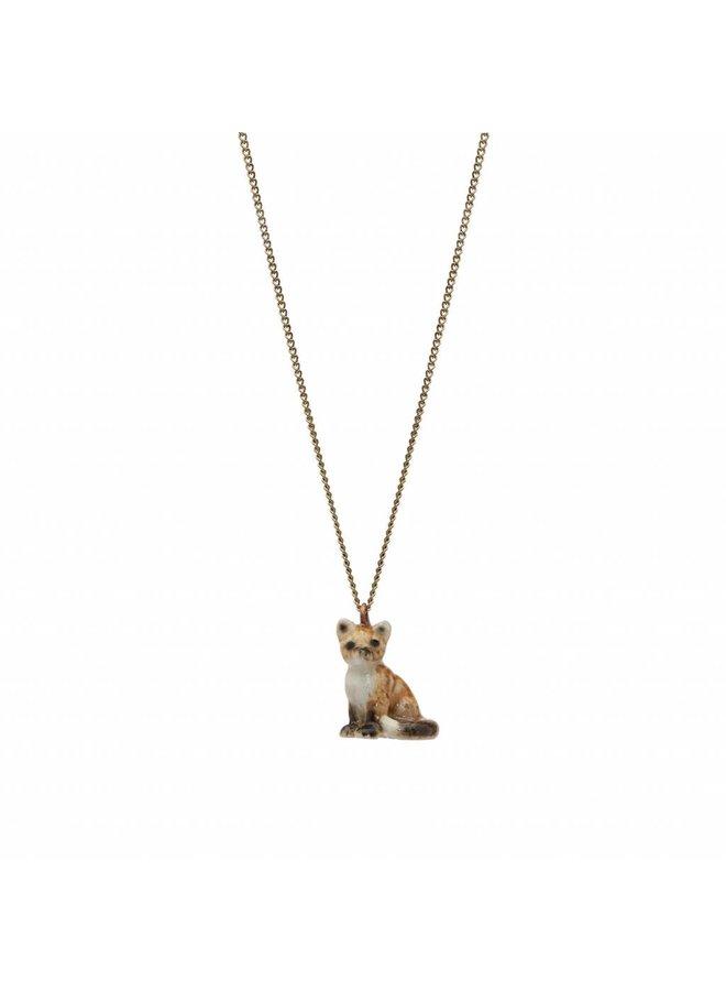 Sitting Fox Charm Halskette, Silberkette