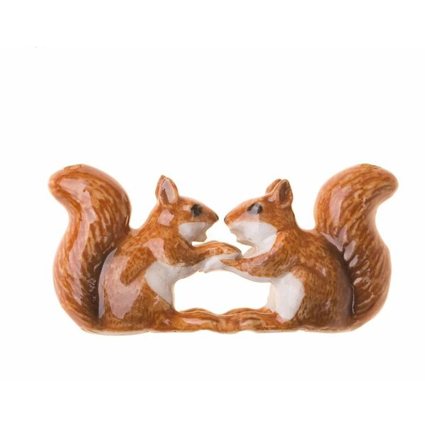 Kissing Squirrels charm hand painted porcelain