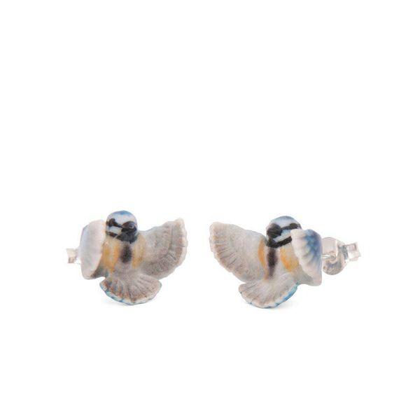 Blue tit stud earrings