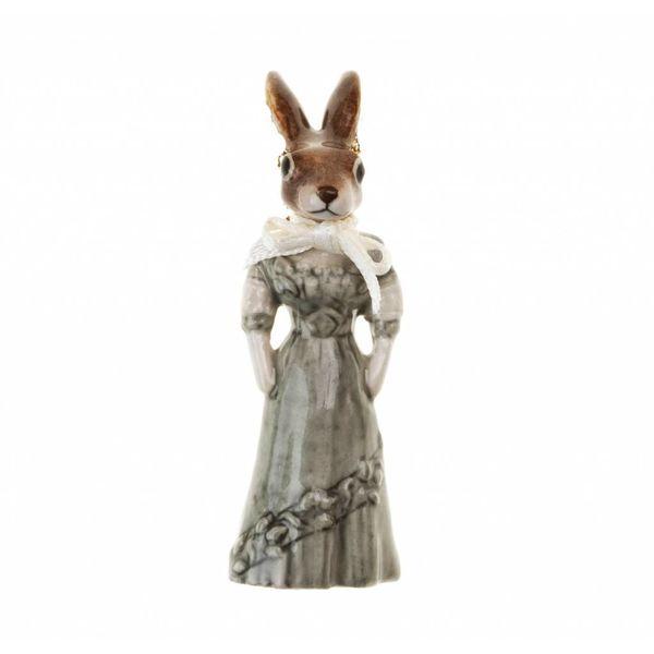 Mrs Rabbit Charm handbemaltes Porzellan