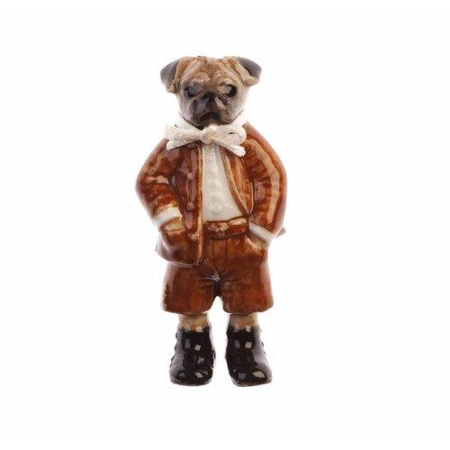 And Mary Herr Pug Boy Charme handbemaltes Porzellan
