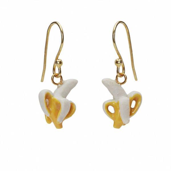 Banana earrings hand painted gold plated hooks