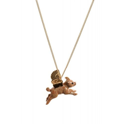And Mary Flying Pig gold leaf necklace hand painted