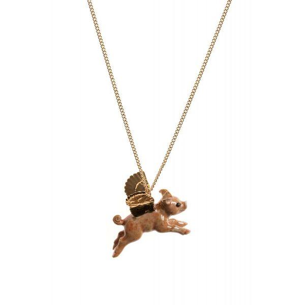 Flying Pig gold leaf charm hand painted porcelain