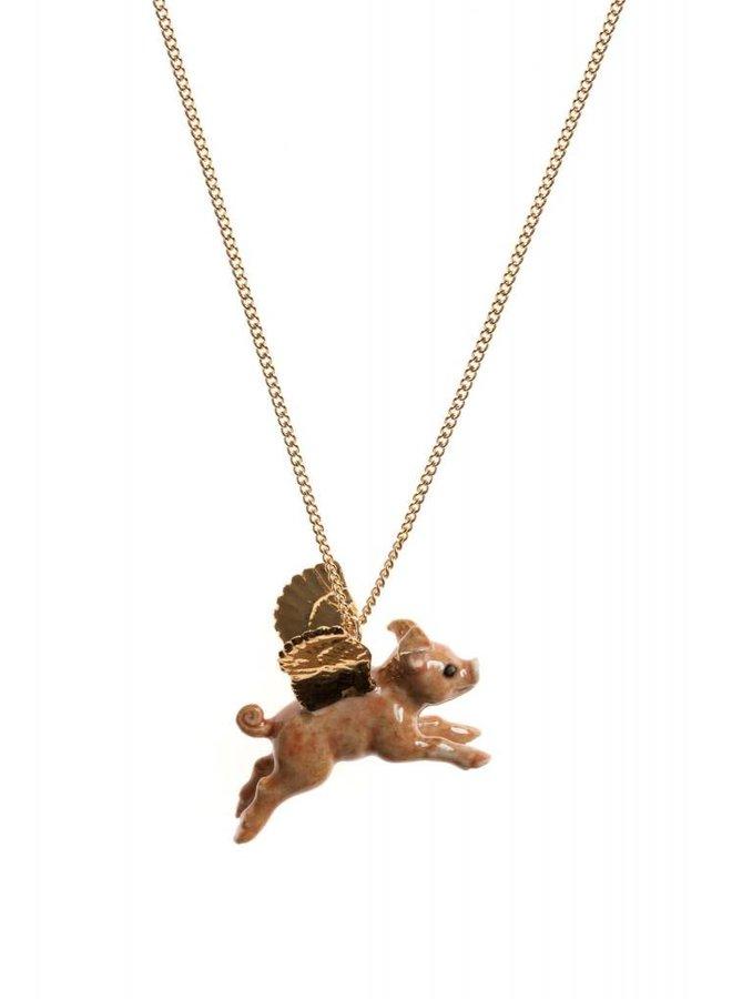 Flying Pig Blattgold Halskette handbemalt