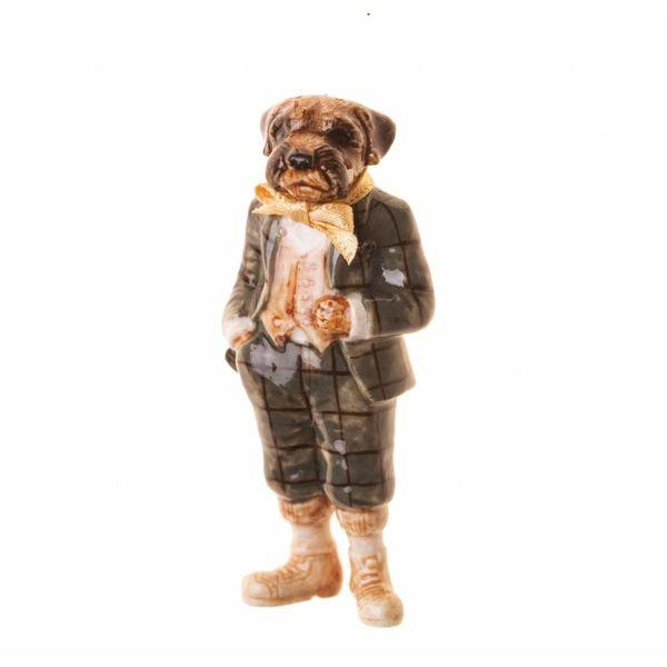 Mr Border Terrier Man charm hand painted porcelain