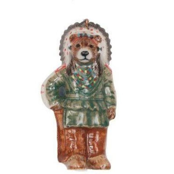 Native American bear Man hand painted porcelain