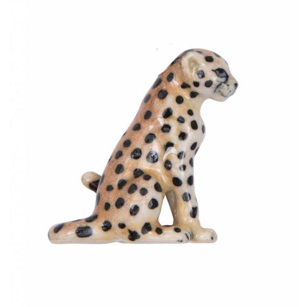 Sitzender Leopard Charme handbemaltes Porzellan