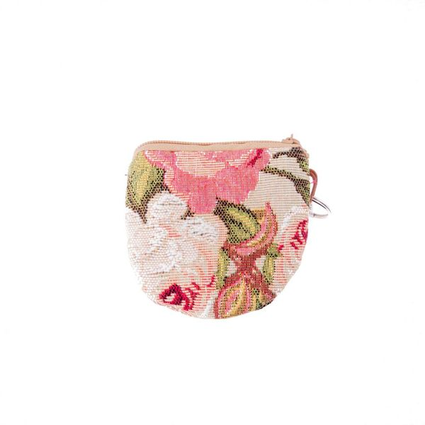 Pink Roses Tapestry Keyring Purse 8 x 8 cm