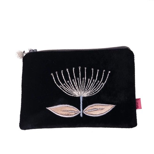LUA Flower embroider black velvet purse