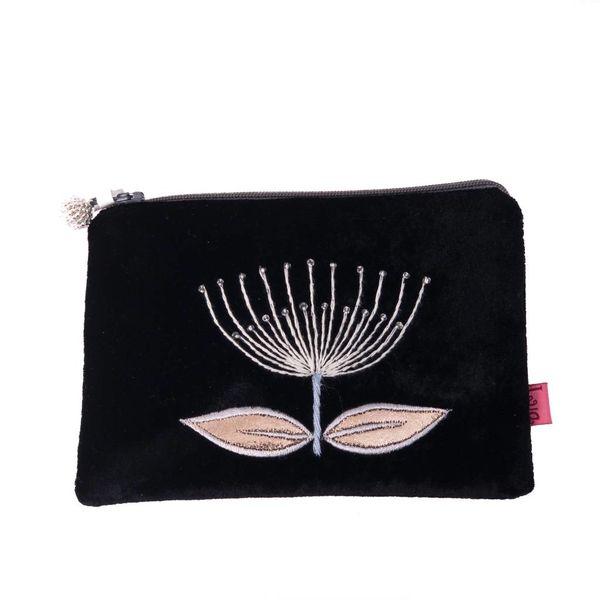 Flower embroider black velvet purse