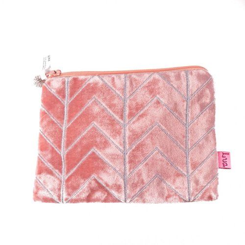 LUA Apricot velvet chevron embroidered zip purse