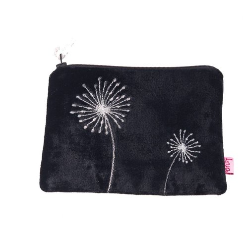 LUA Flower embroidered black velvet zip purse