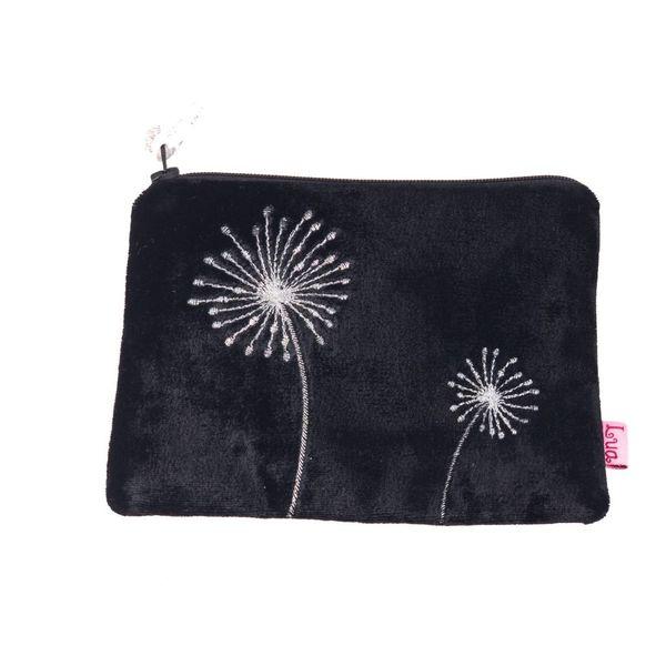 Flower embroidered black velvet purse