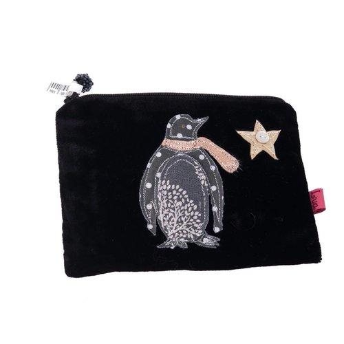 LUA Schwarze Pinguin-Samt-Reißverschlusstasche