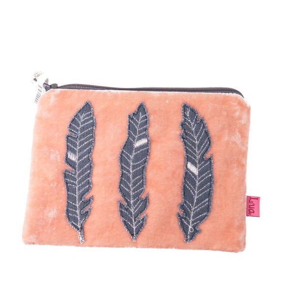 Apricot feather velvet purse