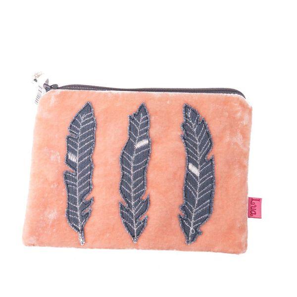Monedero cremallera terciopelo pluma albaricoque