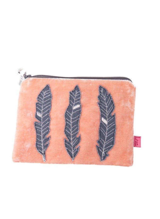 Reißverschluss-Geldbeutel aus Aprikosenfeder