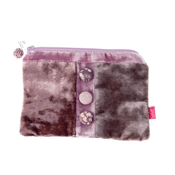Pink Velvet button zip purse