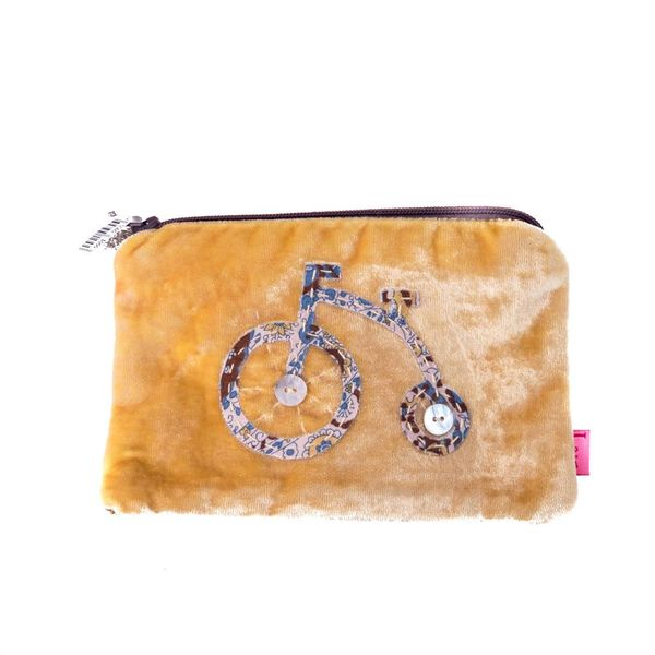 Monedero con cremallera de terciopelo amarillo bicicleta