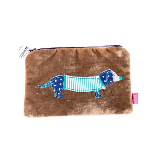 LUA Yellow hound velvet zip purse