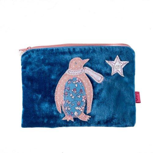 LUA Blue penguin velvet purse
