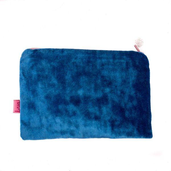 Blue penguin velvet purse