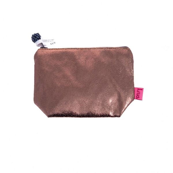 Copper metallic zip purse