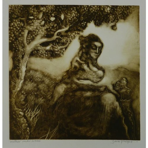 Sara Philpott Mother under Tree 26 x 25 cm