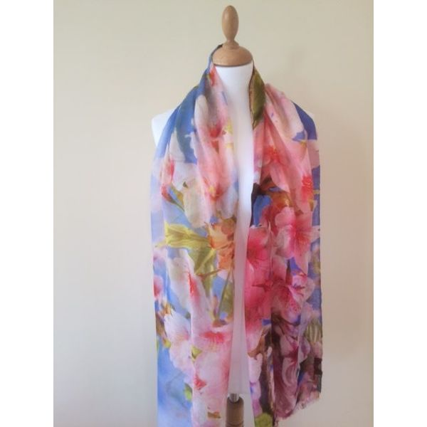 Branches and Blossom Modal and Silk Scarf 04