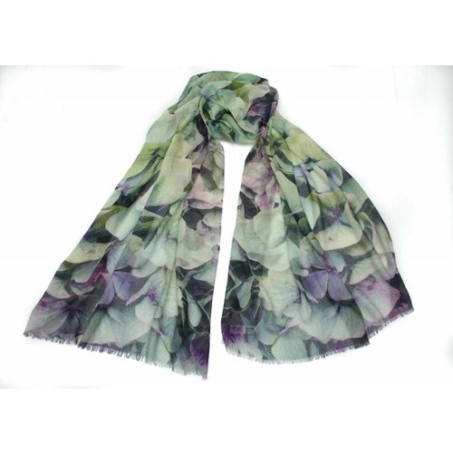 P J Studio Hydrangeas Eau de Nil Modal and Silk Scarf
