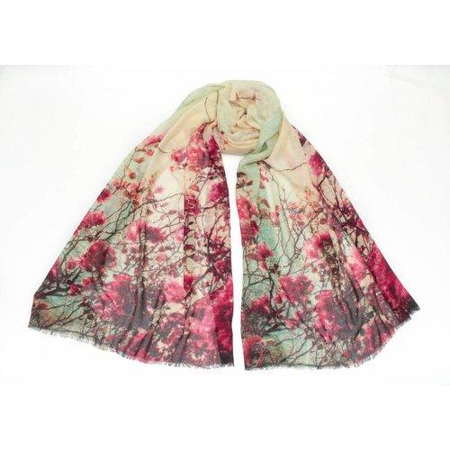 P J Studio Bufanda de seda y seda de flor de cerezo