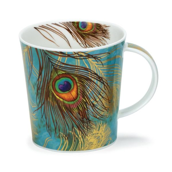 Peacock Feathers Green  with 22 carat gold mug by Aileen Morley