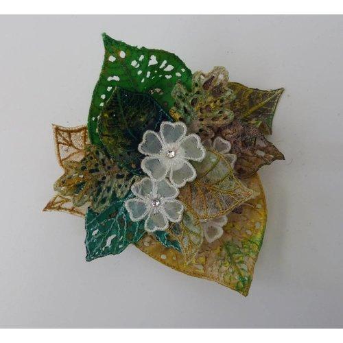 Vikki Lafford Garside Leaf & flower cluster Embroidered Brooch